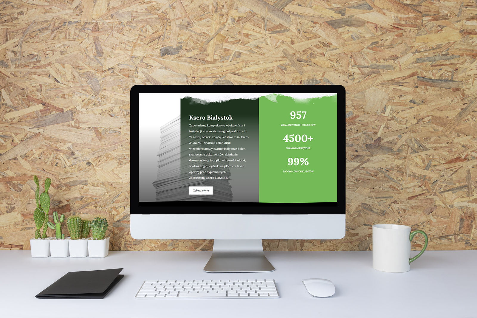 Computer With Blank White Copy Space For Text, Mockup Design Des